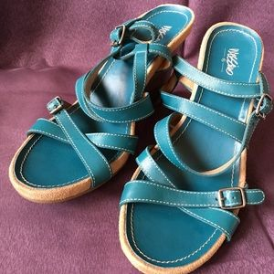 Shoes - Mossimo teal strappy wedge sandal